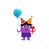 Happy cute birthday monster cartoon character with balloon and gift box in paws, flat vector illustration isolated on white background. Fantasy beast or alien personage.