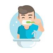 Happy cute boy brushing teeth in bathroom, Vector character illustration.