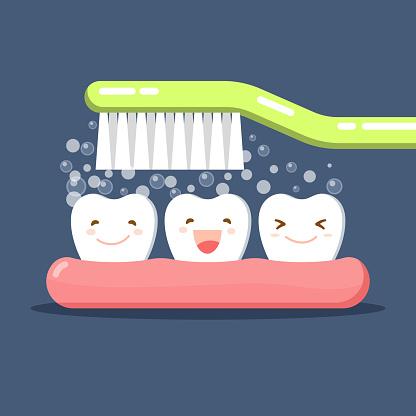 행복 한 귀여운 만화 치아와 칫 솔 칫 솔 질 치아입니다 치약 거품 거품 구강 위생입니다 치과 아이 케어 치과의 주제에 평면 그림입니다 격리 된 벡터입니다 건강관리와 의술에 대한 스톡 벡터 아트 및 기타 이미지