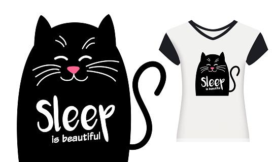 Happy Cute cat with text. Sleep is beautiful. Kawaii black cat. Vector cartoon