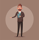 Happy cute colsuntant or salesman. Vector cartoon illustration