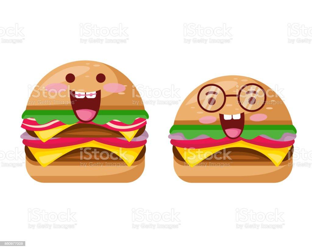 ハッピーかわいいおいしい牛肉のハンバーガーとチーズ バーガー漫画
