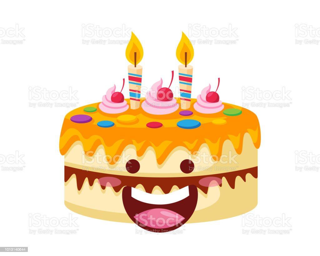 Surprising Happy Cute Delicious Birthday Cake Cartoon Character Illustration Funny Birthday Cards Online Elaedamsfinfo