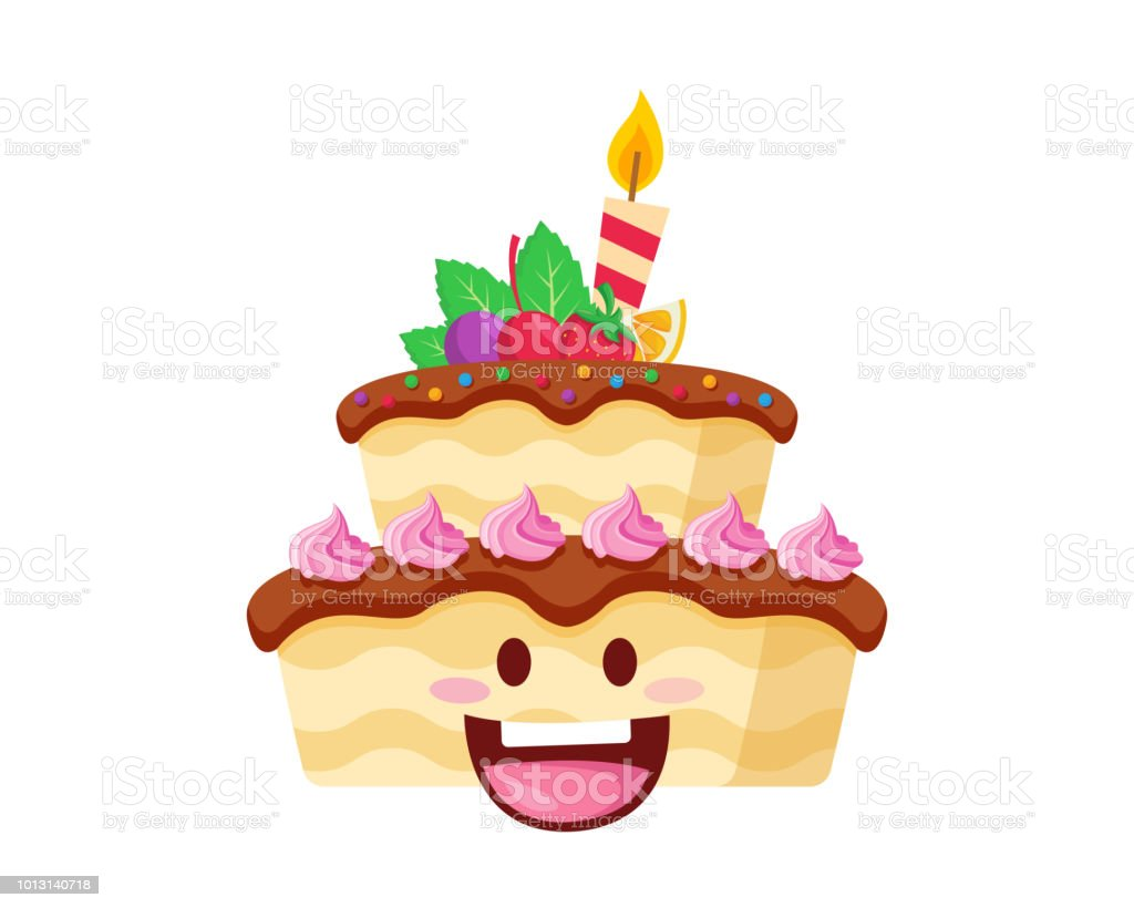Happy Cute Delicious Birthday Cake Cartoon Character Illustration
