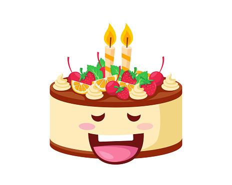 卡通版生日蛋糕_快樂可愛的美味生日布丁蛋糕卡通人物插畫向量圖形及更多信息 ...