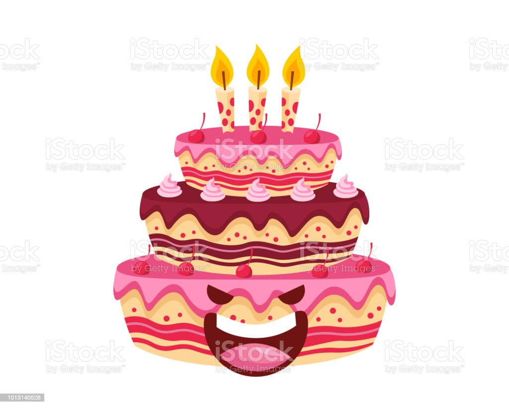 Happy Cute Delicious Strawberry Chocolate Birthday Cake Cartoon