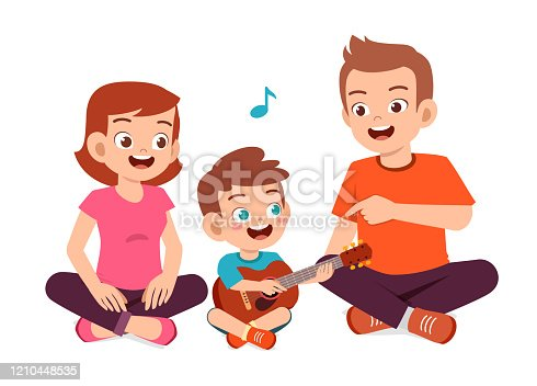 istock happy cute family mom dad son daughter play guitar 1210448535