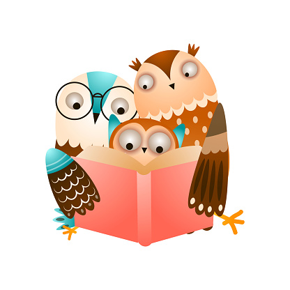 Happy cute family of owl reading a red book