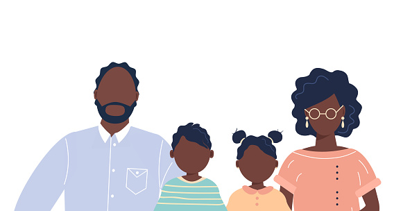 Happy cute family portrait of african-american people parents and kids