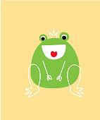 happy cute frog prince cartoon vector poster