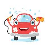Happy cute fun clear car with hose and washcloth