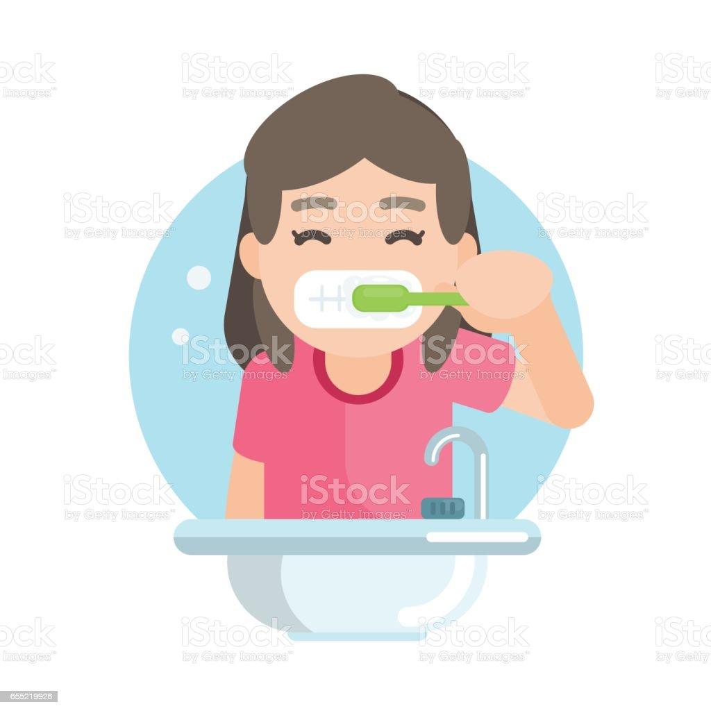 Happy cute girl brushing teeth in bathroom, Vector character illustration. vector art illustration