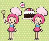 Vector illustration - Happy cute girl carrying a sweet cake.