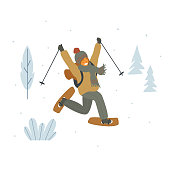 happy cute girl snowshoeing in winter forest isolated vector illustration graphic