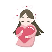 Happy cute girl's hugging heart with love feeling, vector cartoon illustration.