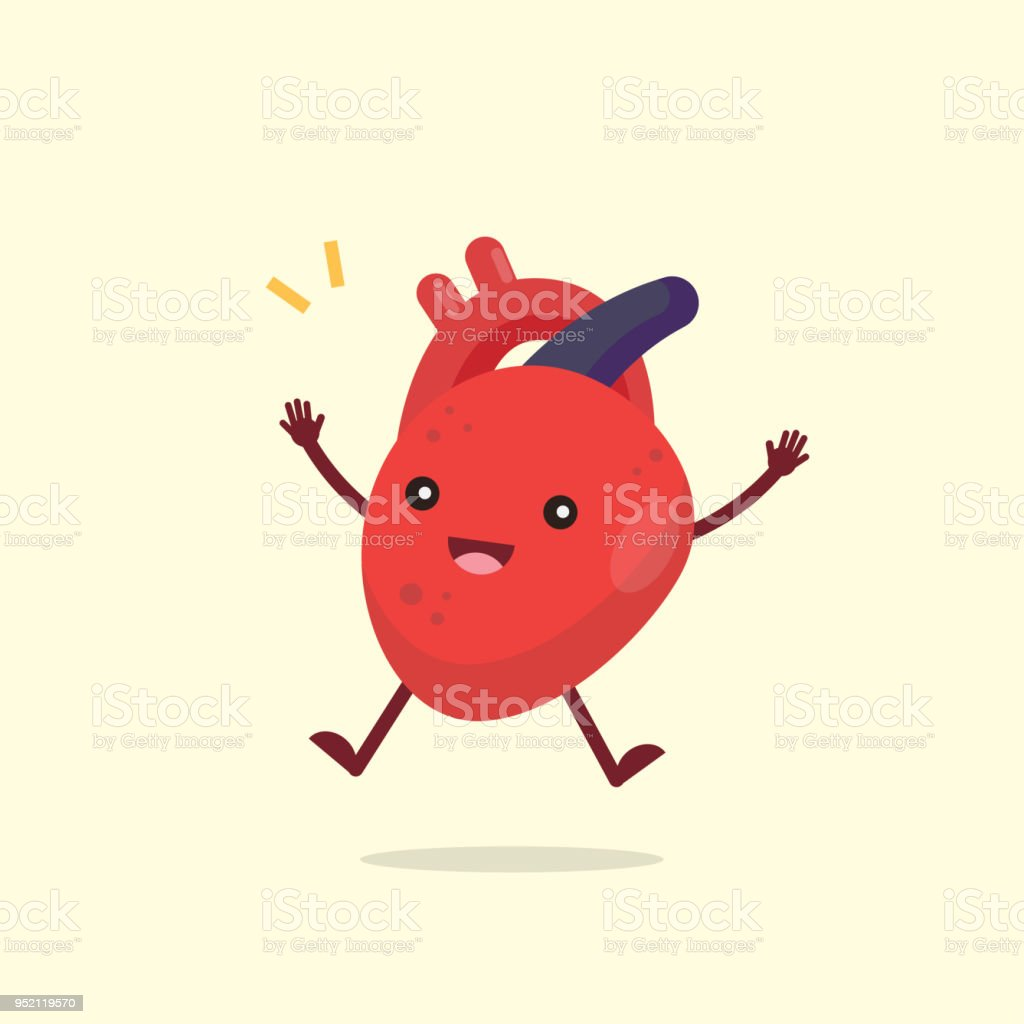 Happy cute heart organ character, healthy concept, vector illustration. vector art illustration