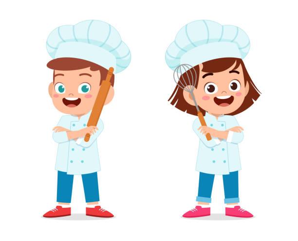 ilustrações de stock, clip art, desenhos animados e ícones de happy cute kid boy and girl in chef costume - cooker happy