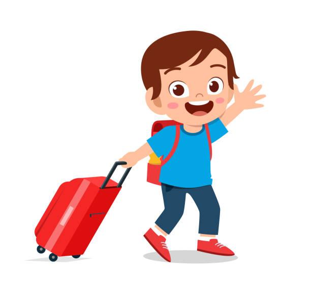happy cute kid boy pull bag go travel happy cute kid boy pull bag go travel vector airport clipart stock illustrations