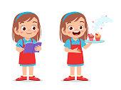 happy cute kid girl chef cook in kitchen vector