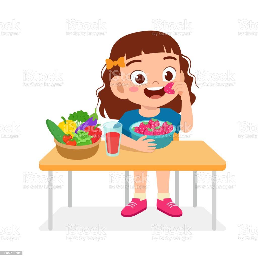 Ilustración De Chica Niña Linda Feliz Comer Comida Saludable Y Más Vectores Libres De Derechos De Adulto Istock
