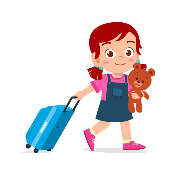 happy cute kid girl pull bag with teddy happy cute kid girl pull bag with teddy airport clipart stock illustrations