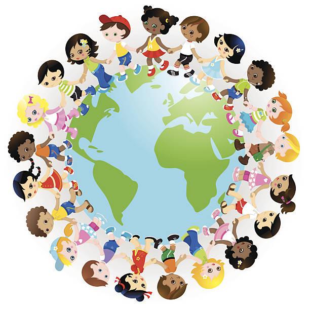 Happy cute kids holding hands around world vector art illustration