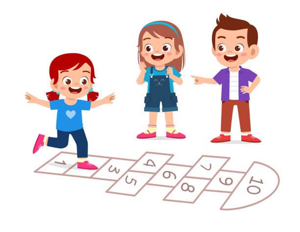 glücklich süße kleine kind junge und mädchen spielen hopscotch - himmel und hölle spiel stock-grafiken, -clipart, -cartoons und -symbole