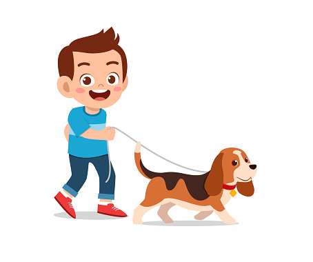 happy cute little kid boy girl play with pet dog
