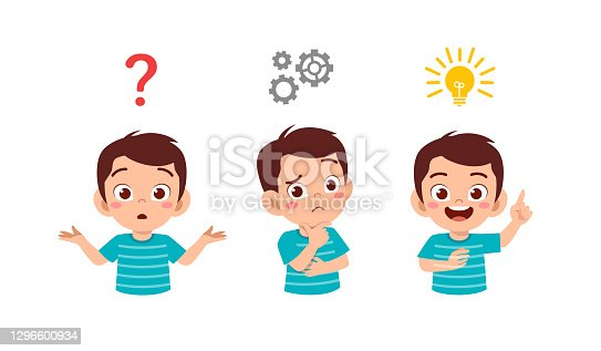 istock happy cute little kid boy thinking and searching idea process 1296600934