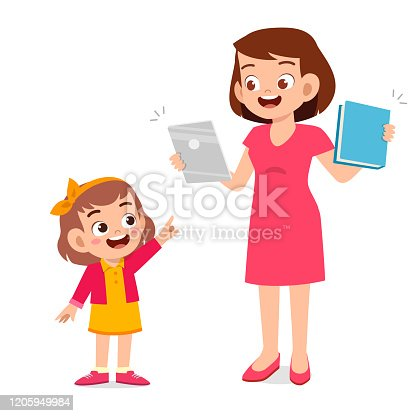 istock happy cute little kid girl with mom holding tablet 1205949984