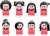 happy cute monsters girls hair styles