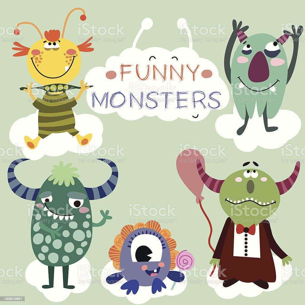 Happy Cute Monsters Set - Illustration vector art illustration