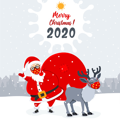 Happy cute Santa Claus and Reindeer with surgical masks.