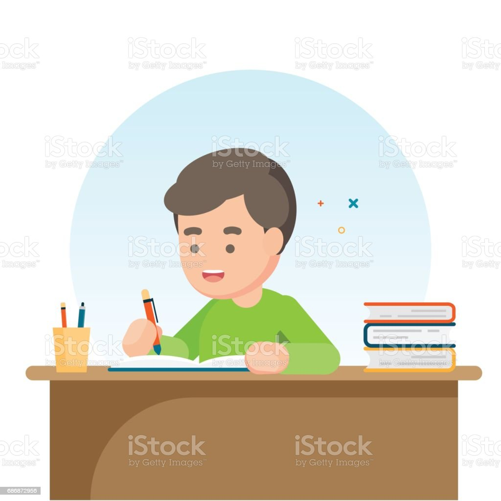 Happy cute  school boy writing for homework, Study concept, Vector illustration. vector art illustration