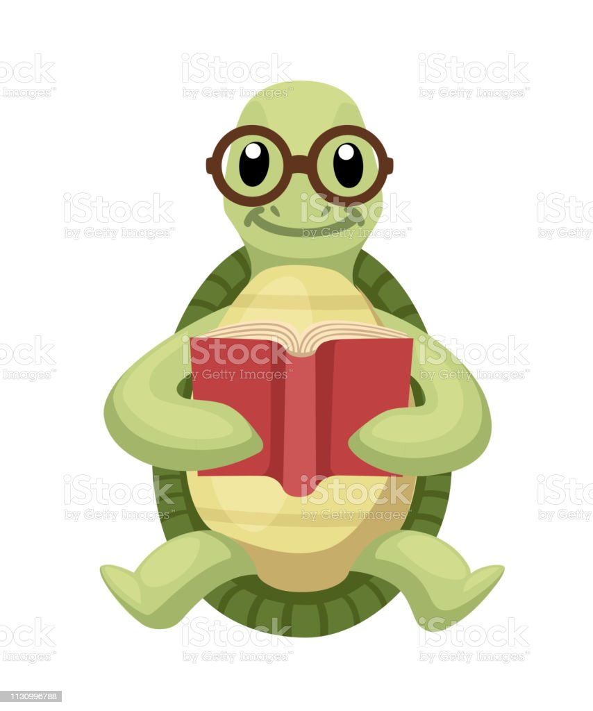 Happy Cute Turtle Sit And Read Book With Smile Turtle With Glasses