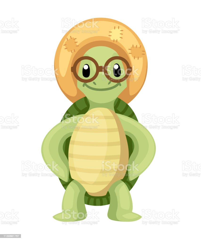 Happy Cute Turtle Stand With Smile Little Turtle With Straw Hat