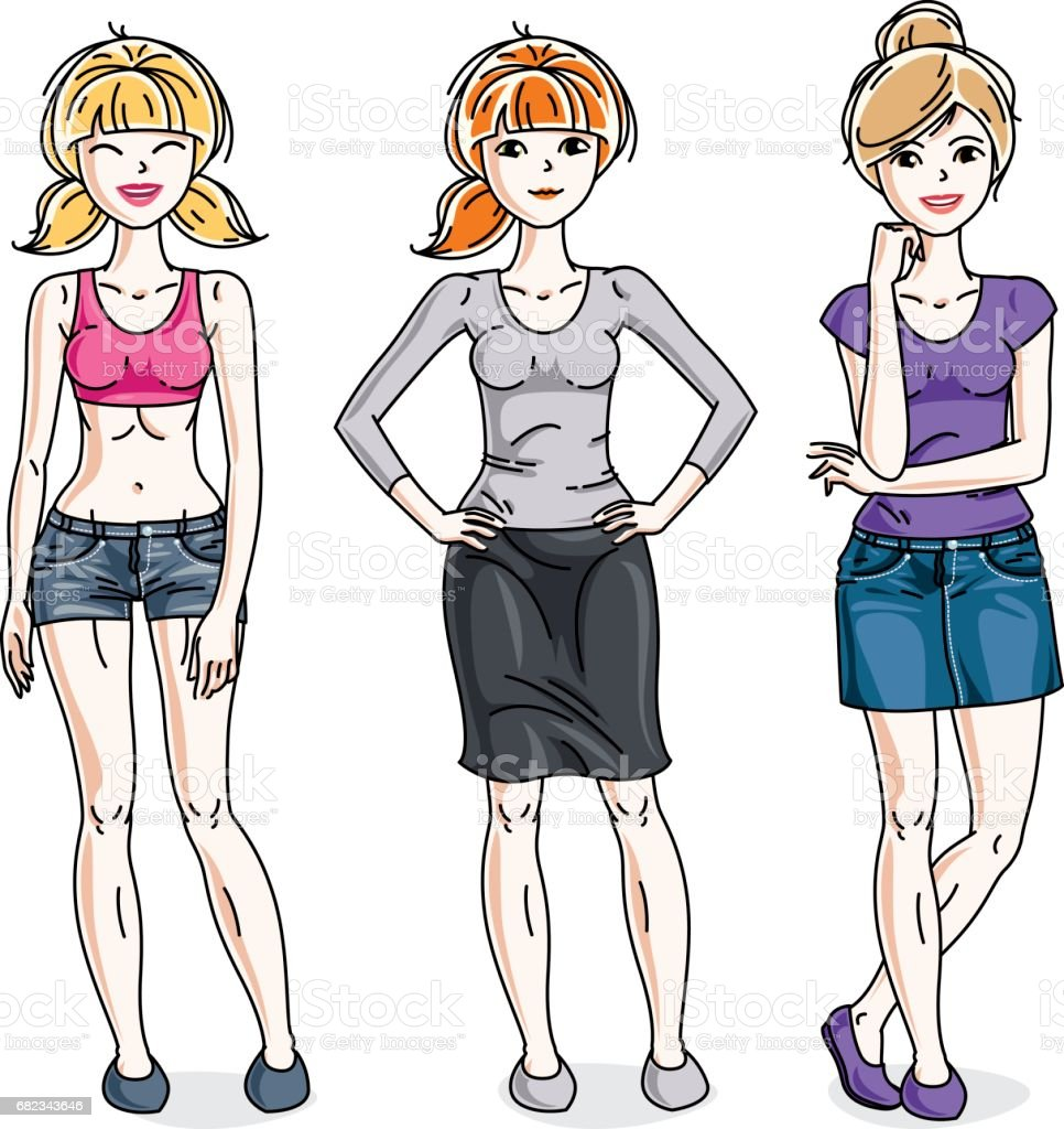 74d12d291c Happy cute young women group standing wearing casual clothes. Vector set of  beautiful people illustrations. Fashion and lifestyle theme cartoons.
