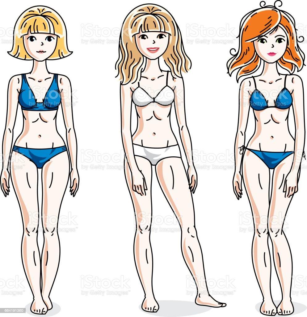 8cd65da60f Happy cute young women standing wearing colorful bikini. Vector set of  beautiful people illustrations. - Illustration .