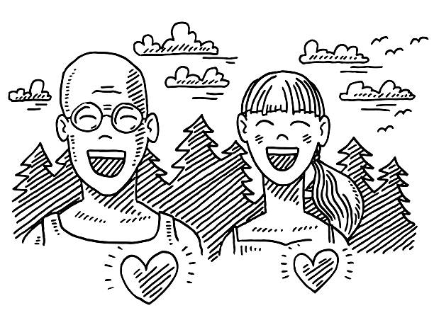 Happy Dad And Daughter Outdoor Sport Drawing Hand-drawn vector drawing of a Happy Dad And Daughter doing Outdoor Sport. Both people are enjoying their activity with toothy smile and closed eyes. Heart shapes showing the positivity on health. In the background are fir trees, clouds and birds. Black-and-White sketch on a transparent background (.eps-file). Included files are EPS (v10) and Hi-Res JPG. running stock illustrations