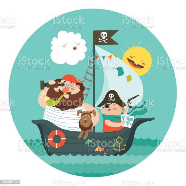 Happy dad and son sailing at their pirate ship vector id685864730?b=1&k=6&m=685864730&s=612x612&h=rgyhfern80tonackds5muqecyukmbaytcyf 2bw tvk=
