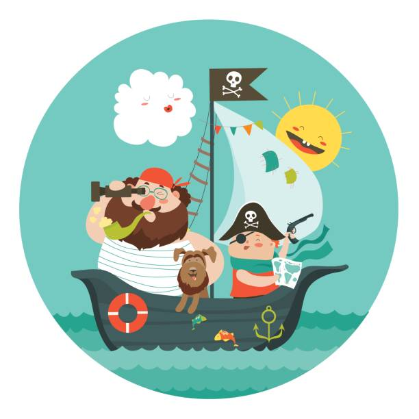 Happy dad and son sailing at their pirate ship vector art illustration