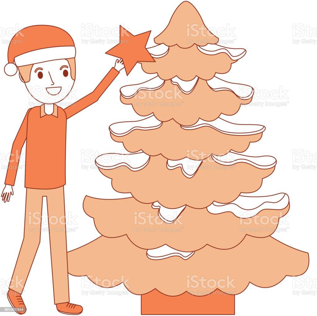 Sterne Für Weihnachtsbaum.Glücklicher Vater Hält Die Sterne Weihnachtsbaum Dekoration Stock Vektor Art Und Mehr Bilder Von Baum