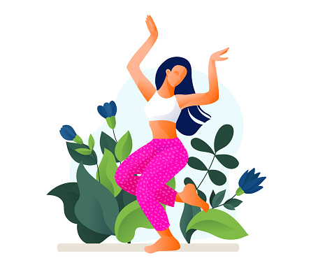 Happy dancing girl or woman dancing in fitness studio vector illustration.