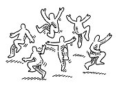 Hand-drawn vector drawing of a group of Happy Dancing Human Figures. Black-and-White sketch on a transparent background (.eps-file). Included files are EPS (v10) and Hi-Res JPG.