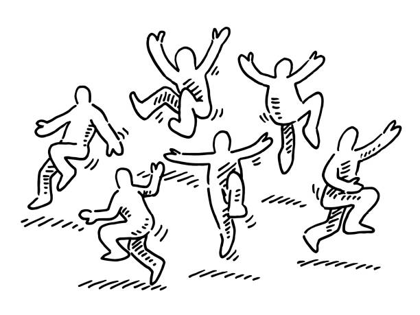 Happy Dancing Human Figures Drawing Hand-drawn vector drawing of a group of Happy Dancing Human Figures. Black-and-White sketch on a transparent background (.eps-file). Included files are EPS (v10) and Hi-Res JPG. celebration stock illustrations