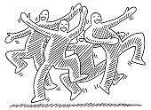 Happy Dancing Human Figures Drawing