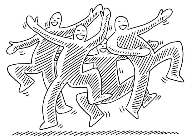 Happy Dancing Human Figures Drawing Hand-drawn vector drawing of five Happy Dancing Human Figures. Black-and-White sketch on a transparent background (.eps-file). Included files are EPS (v10) and Hi-Res JPG. celebration stock illustrations