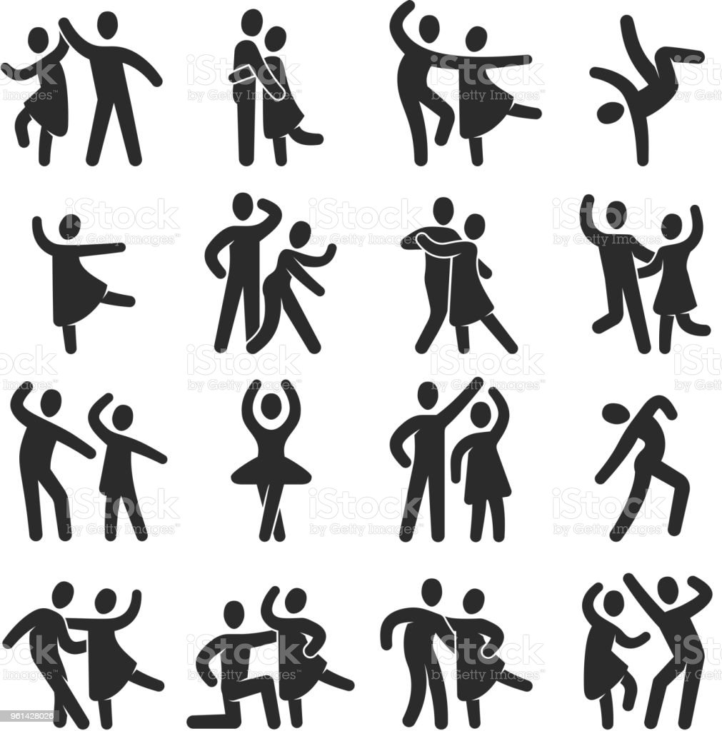 Happy dancing people icons. Modern dance class vector silhouette symbols royalty-free happy dancing people icons modern dance class vector silhouette symbols stock illustration - download image now