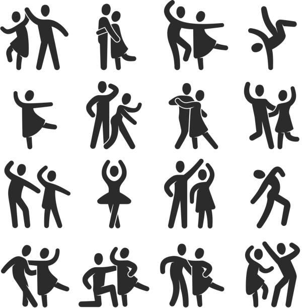 ilustrações, clipart, desenhos animados e ícones de ícones de pessoas dançando feliz. símbolos de silhueta dança moderna classe vector - dançar