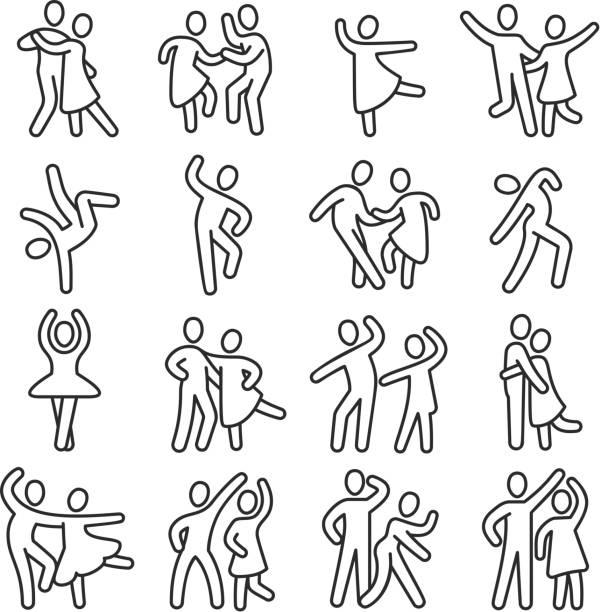 illustrazioni stock, clip art, cartoni animati e icone di tendenza di happy dancing woman and man couple icons. disco dance lifestyle vector pictograms - dance